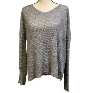 American Eagle V-Neck Gray Knit Pullover Sweater